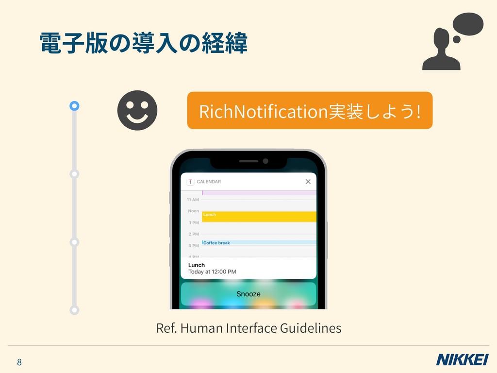 電⼦版の導⼊の経緯 8 RichNotification実装しよう! Ref. Human In...