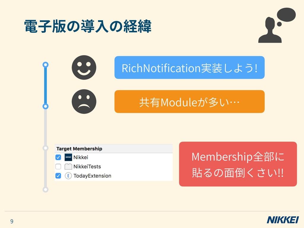 電⼦版の導⼊の経緯 9 RichNotification実装しよう! 共有Moduleが多い… ...