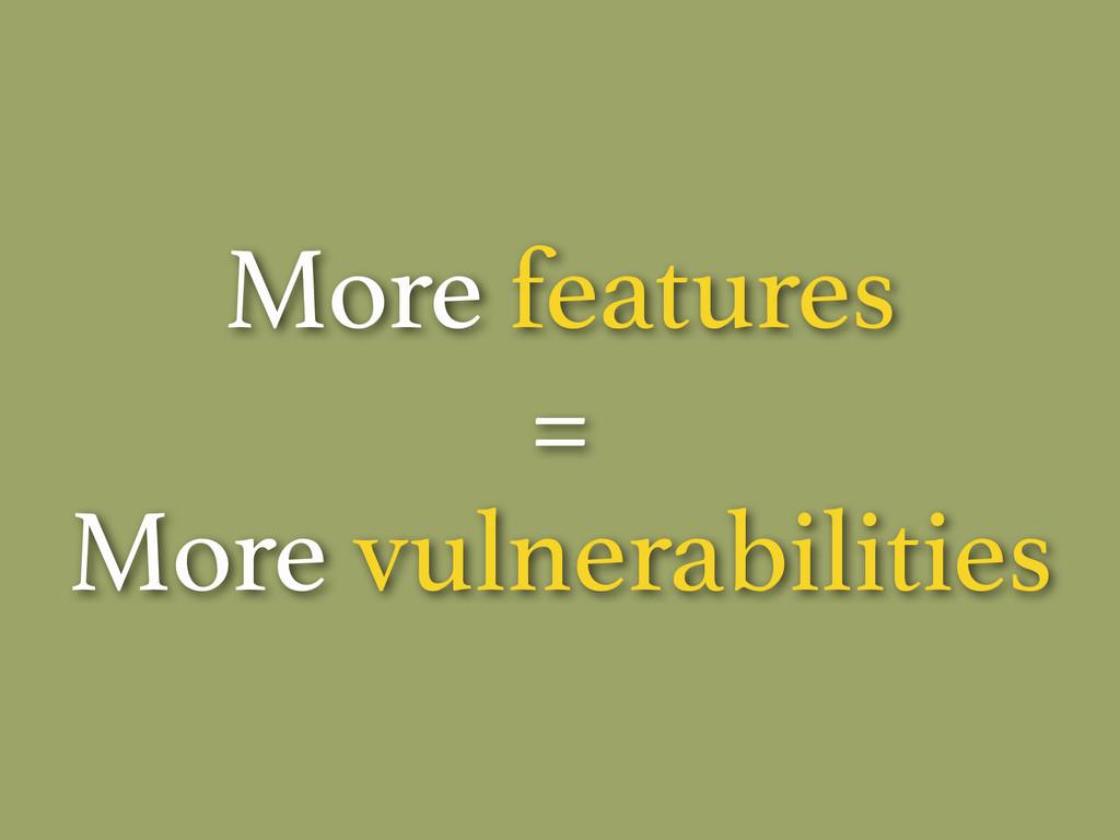 More features = More vulnerabilities