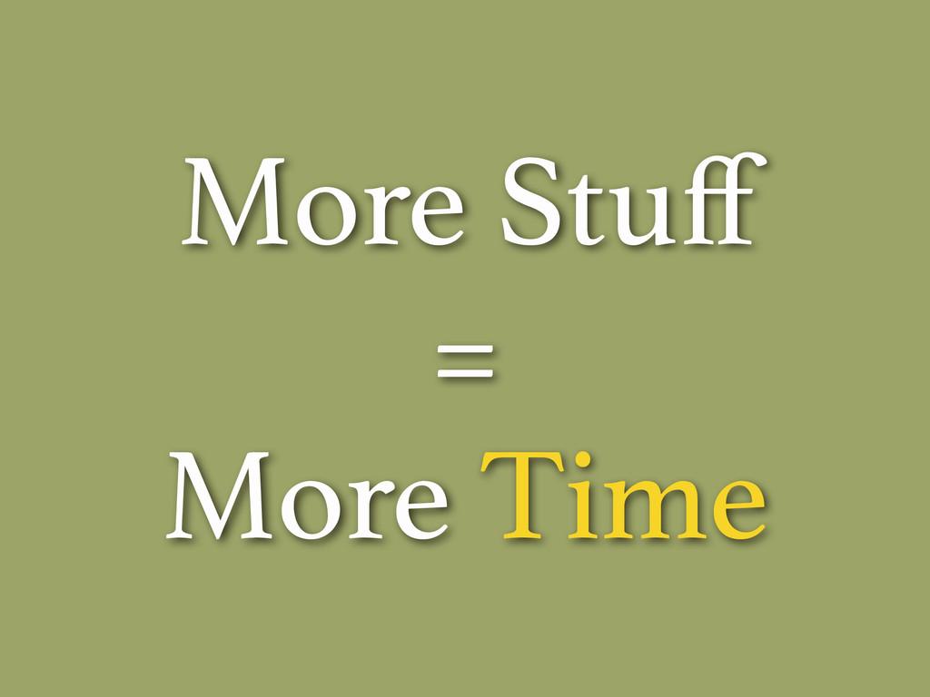 More Stuff = More Time