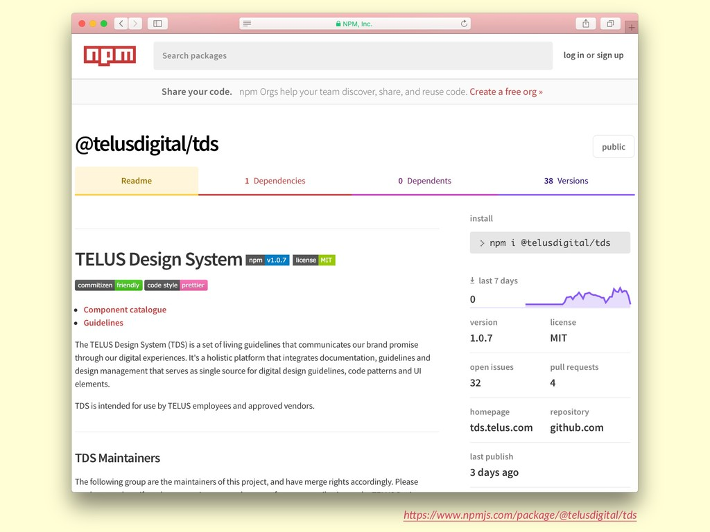 "h""ps://www.npmjs.com/package/@telusdigital/tds"