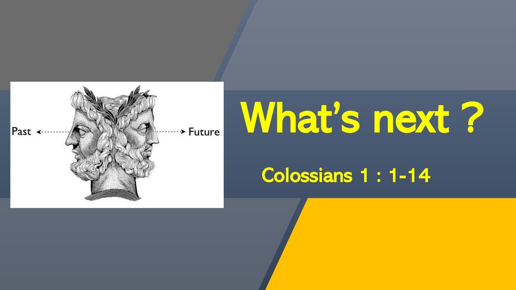 What's next ? Colossians 1 : 1-14