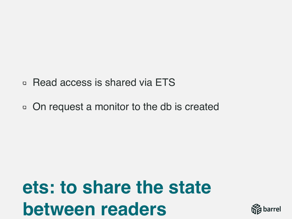 Read access is shared via ETS On request a moni...