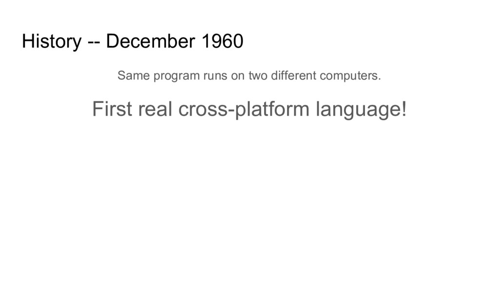 History -- December 1960 Same program runs on t...