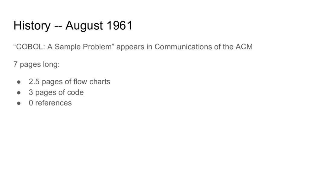 "History -- August 1961 ""COBOL: A Sample Problem..."