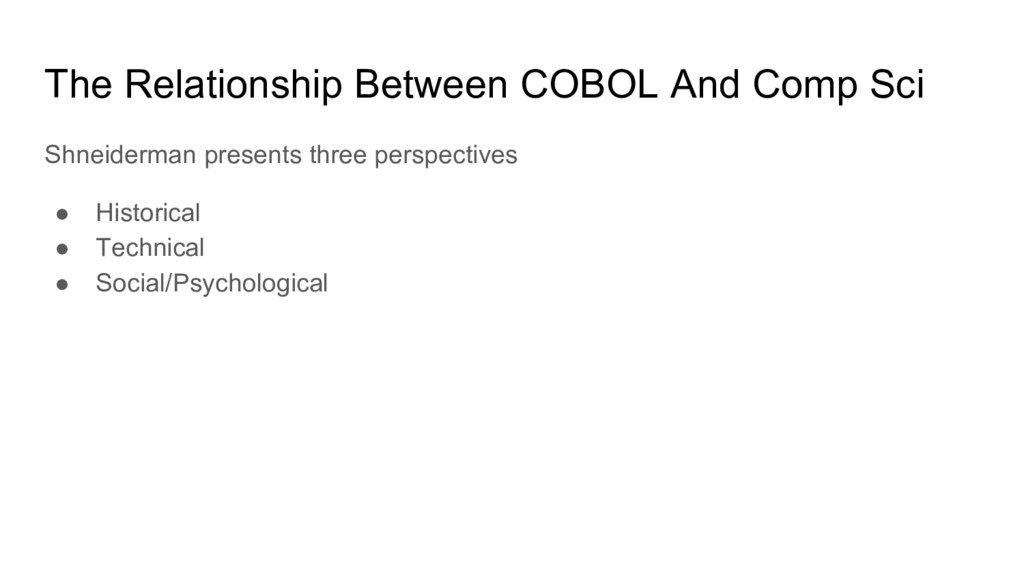 The Relationship Between COBOL And Comp Sci Shn...