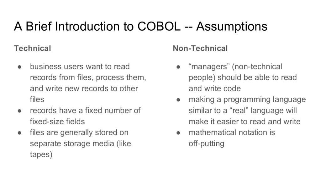 A Brief Introduction to COBOL -- Assumptions Te...