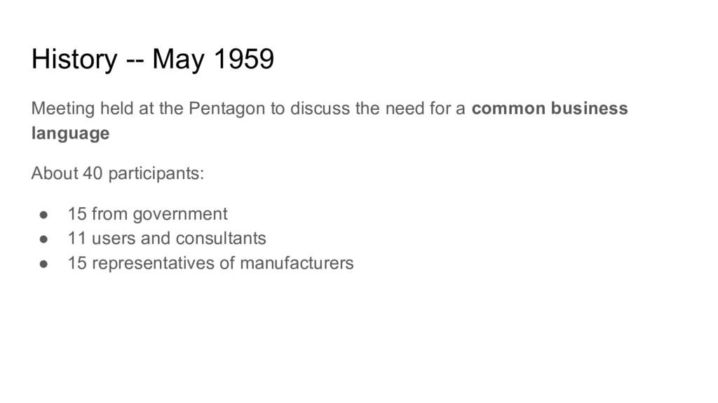 History -- May 1959 Meeting held at the Pentago...