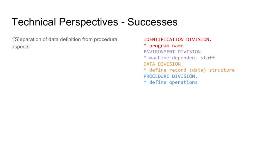 "Technical Perspectives - Successes ""[S]eparatio..."