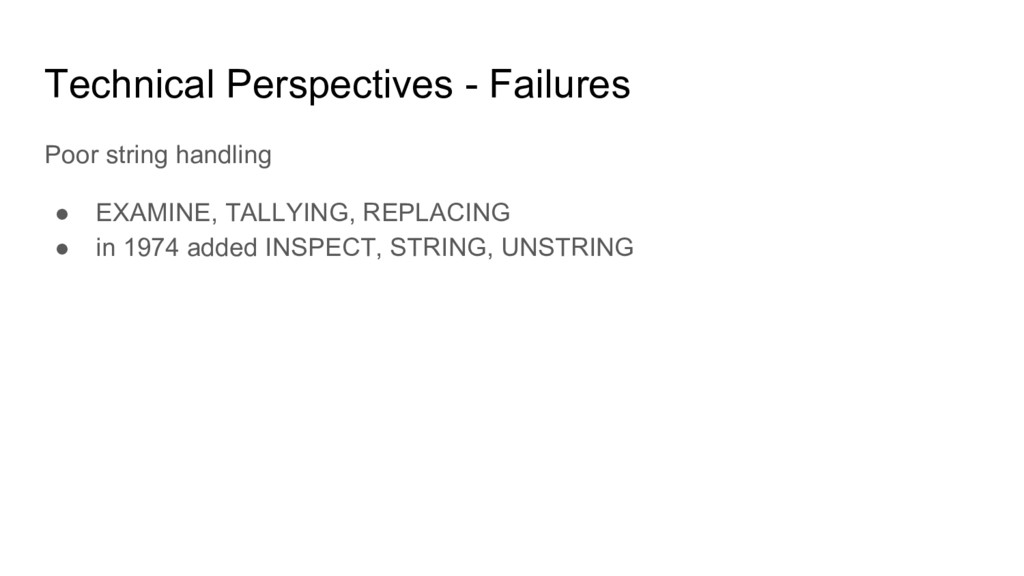 Technical Perspectives - Failures Poor string h...