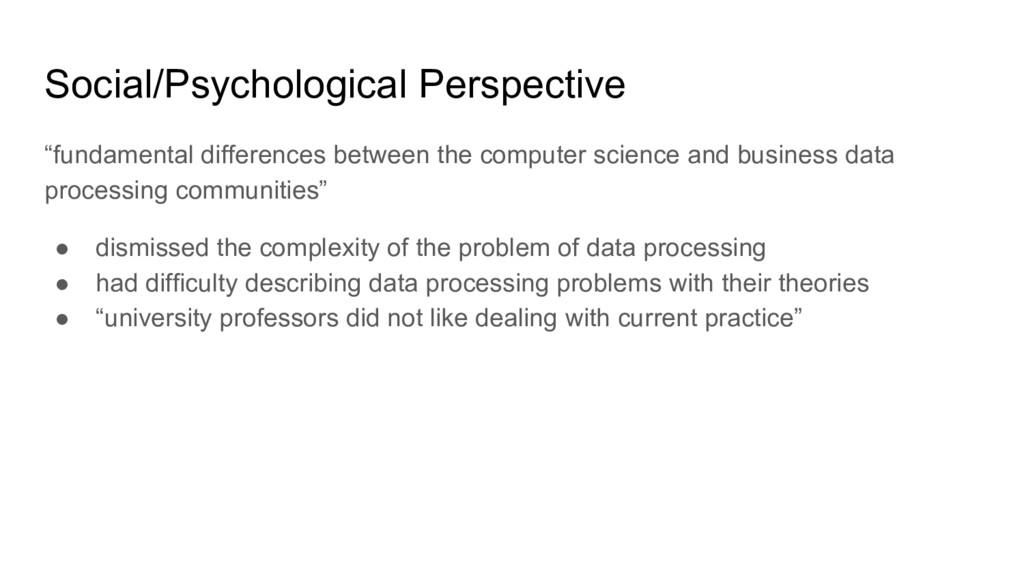 "Social/Psychological Perspective ""fundamental d..."