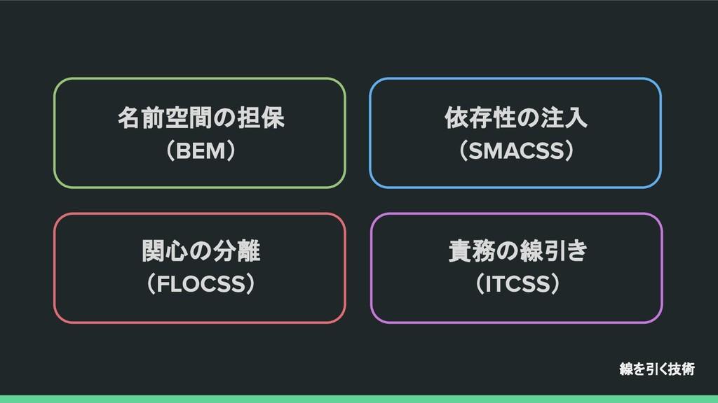 線を引く技術 名前空間の担保 (BEM) 依存性の注入 (SMACSS) 関心の分離 (FLO...