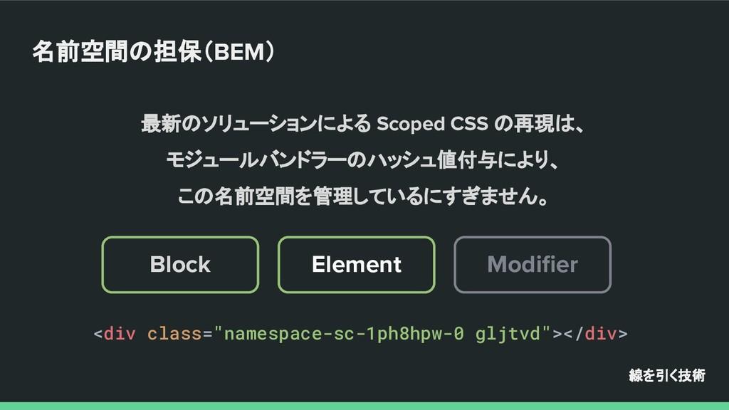 最新のソリューションによる Scoped CSS の再現は、 モジュールバンドラーのハッシュ値...
