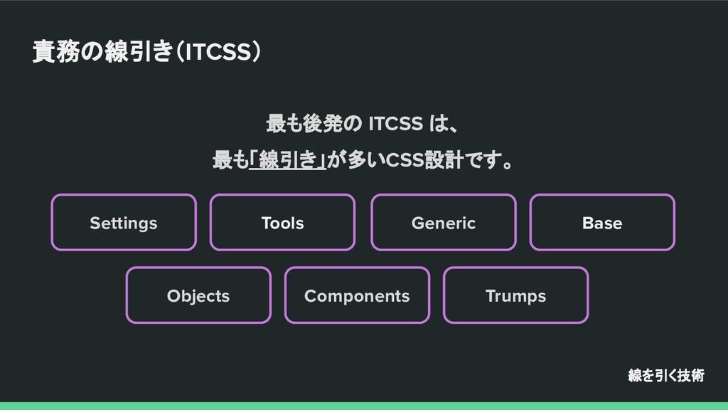 最も後発の ITCSS は、 最も「線引き」が多いCSS設計です。 Settings Trum...