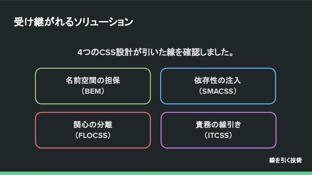 名前空間の担保 (BEM) 依存性の注入 (SMACSS) 関心の分離 (FLOCSS) 責務...