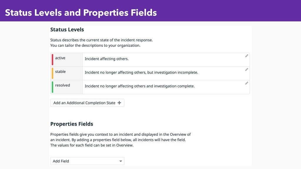 Status Levels and Properties Fields