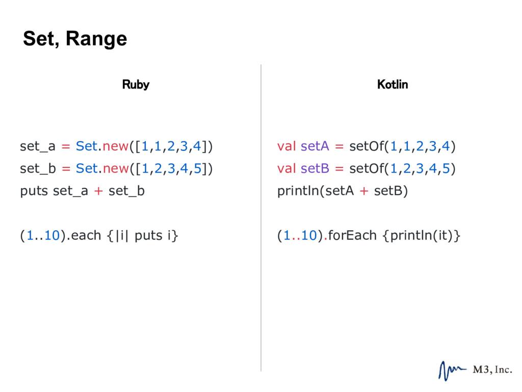 Set, Range Ruby Kotlin val setA = setOf(1,1,2,3...