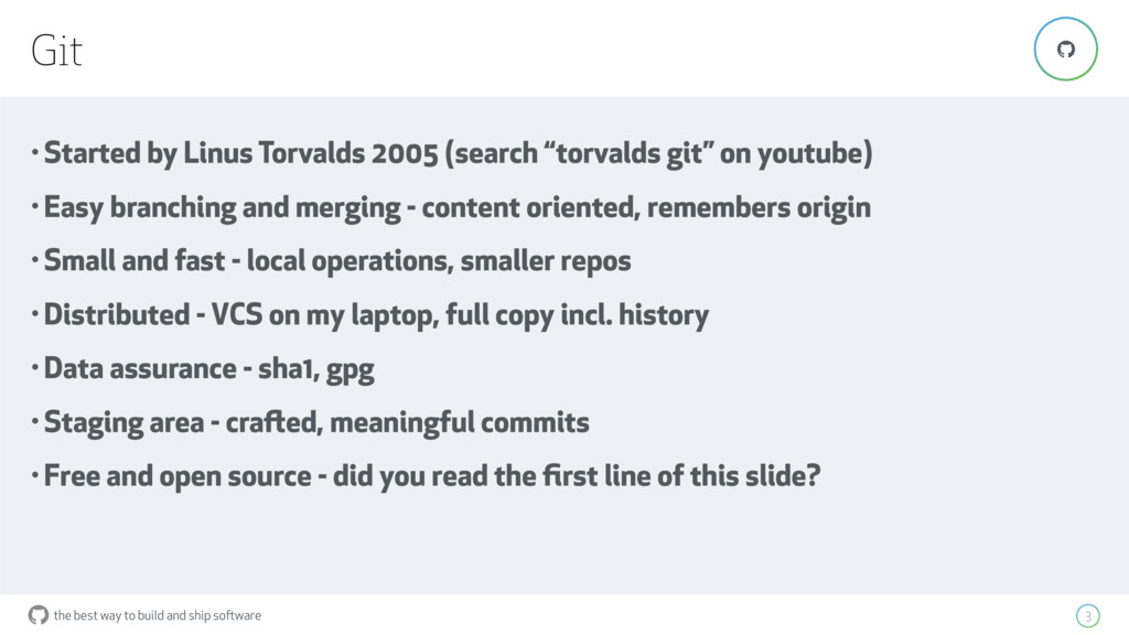 """the best way to build and ship software Git 3 """"..."""