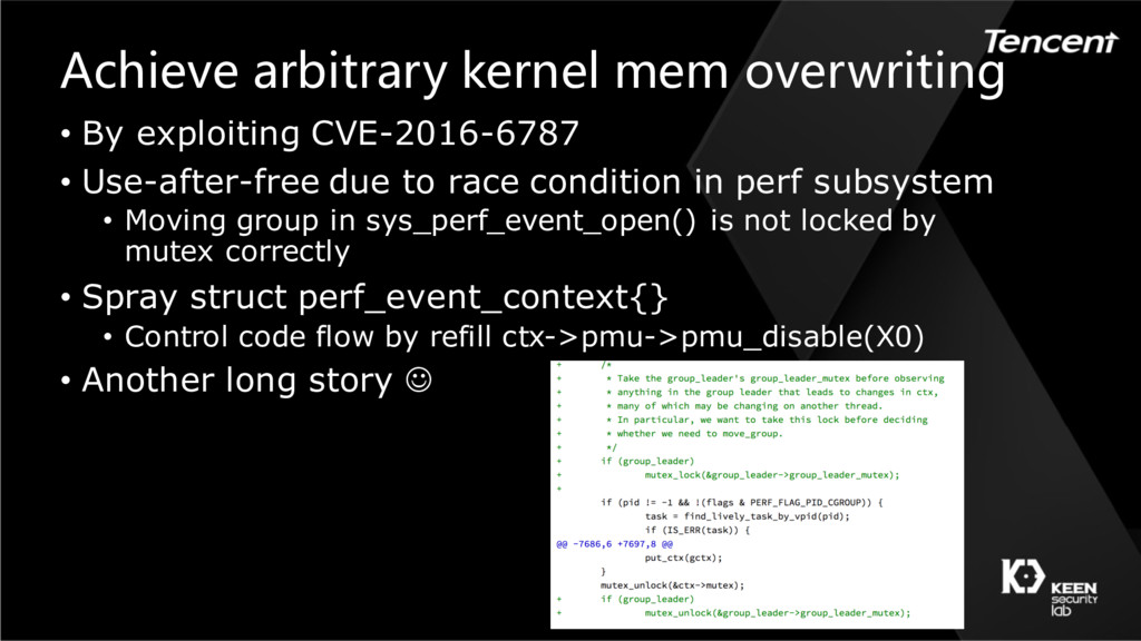Achieve arbitrary kernel mem overwriting • By e...