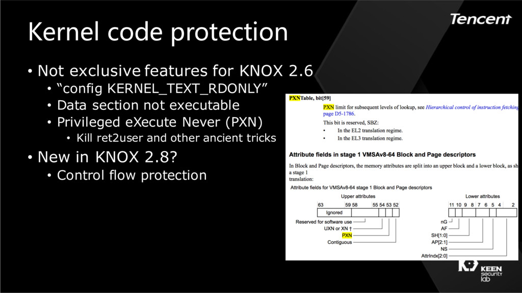 Kernel code protection • Not exclusive features...