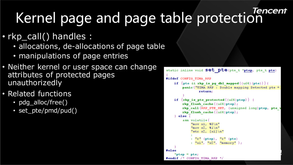 Kernel page and page table protection • rkp_cal...