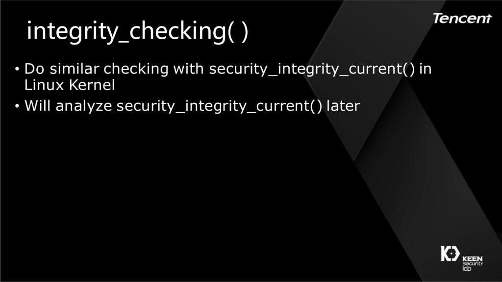 integrity_checking( ) • Do similar checking wit...