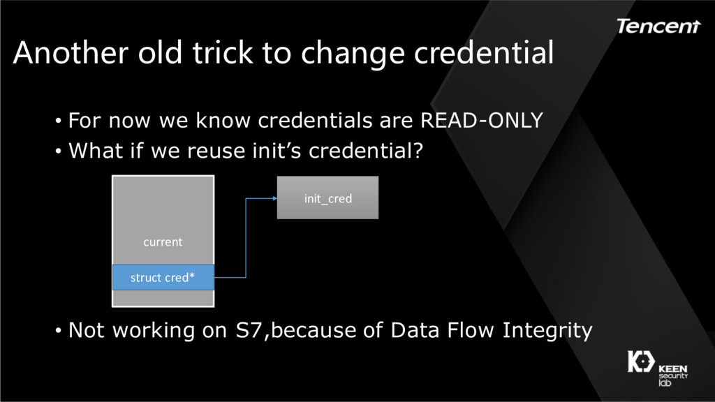 Another old trick to change credential • For no...