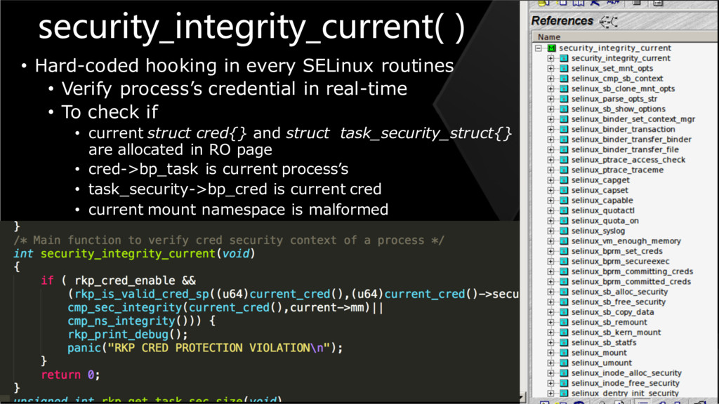 security_integrity_current( ) • Hard-coded hook...