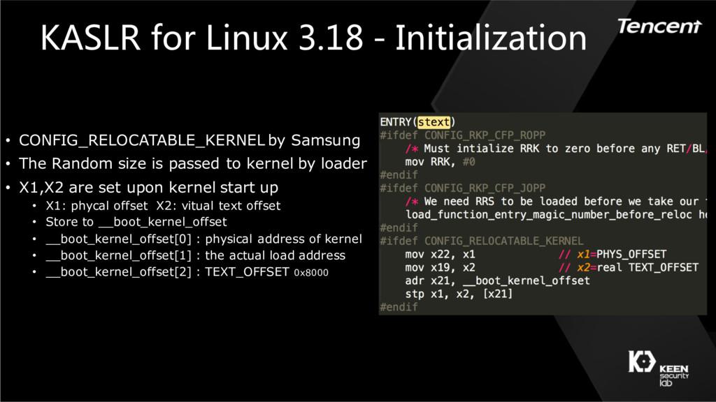 KASLR for Linux 3.18 - Initialization • CONFIG_...
