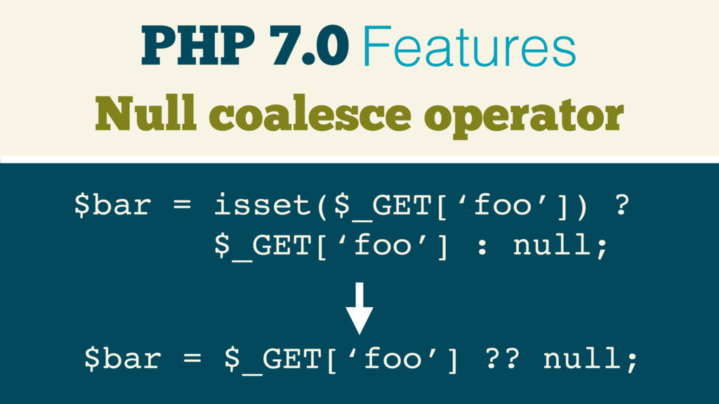 PHP 7.0 Features $bar = isset($_GET['foo']) ? $...