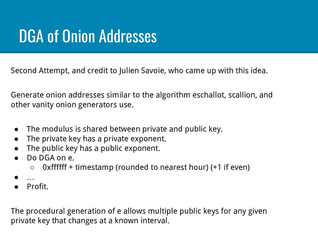DGA of Onion Addresses Second Attempt, and cred...