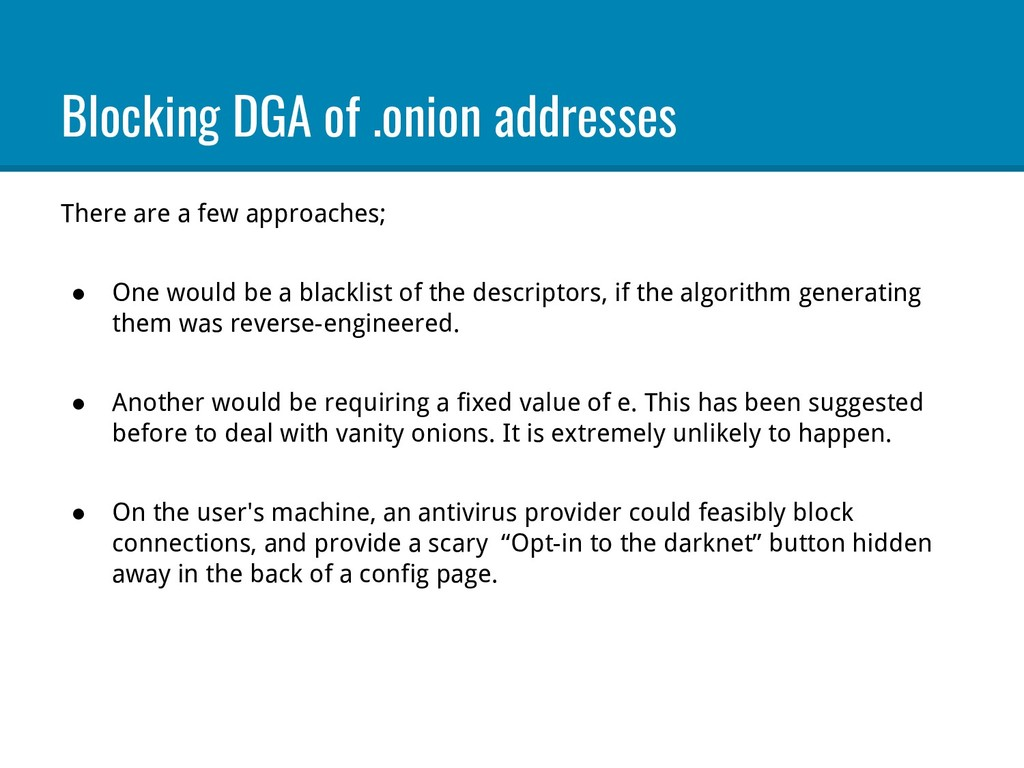 Blocking DGA of .onion addresses There are a fe...