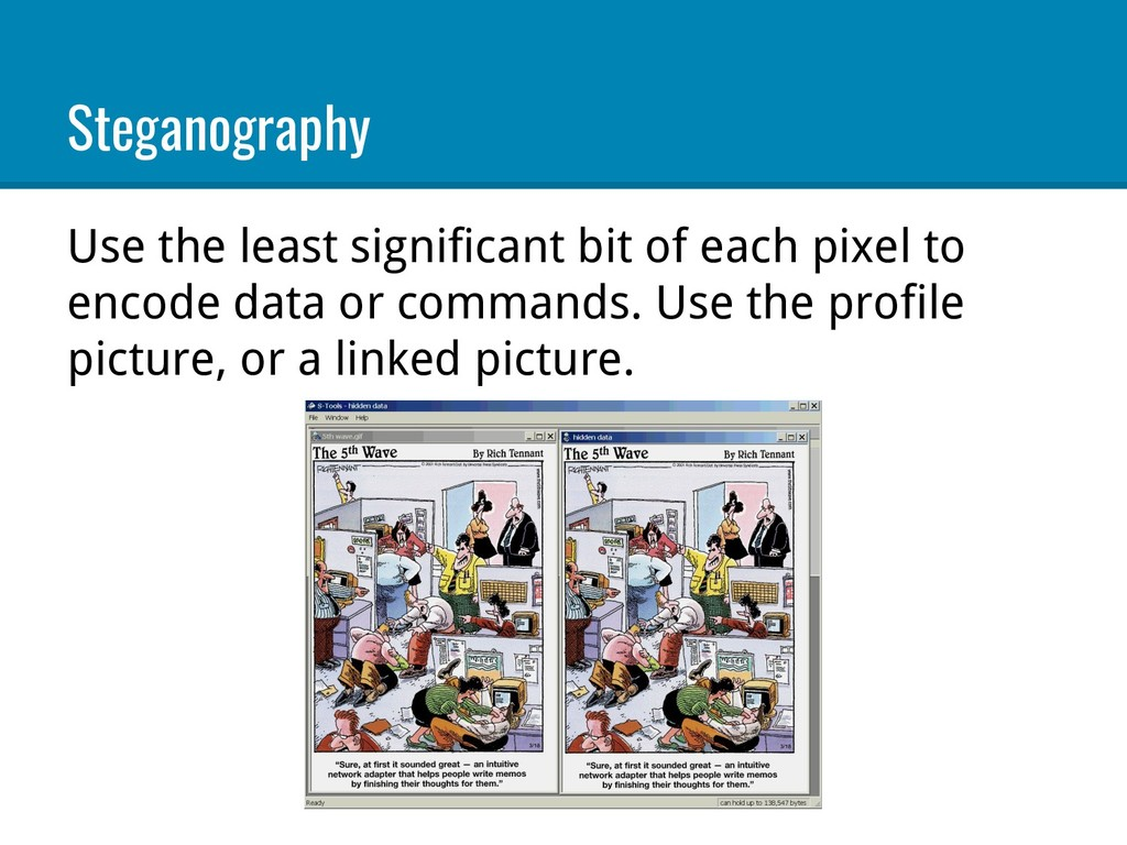 Steganography Use the least significant bit of ...