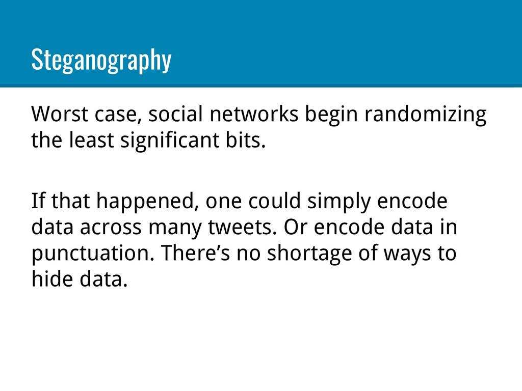 Steganography Worst case, social networks begin...