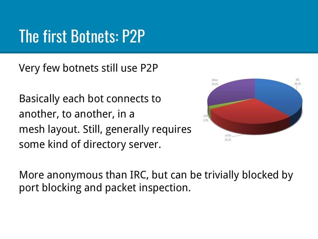 The first Botnets: P2P Very few botnets still u...