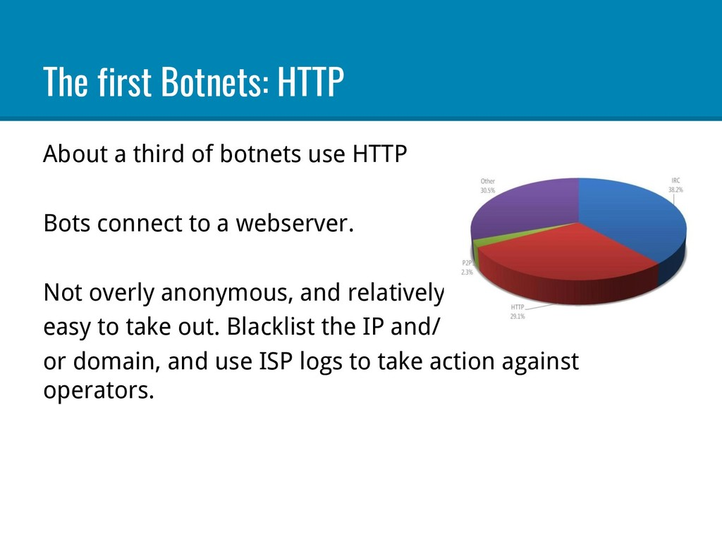 The first Botnets: HTTP About a third of botnet...