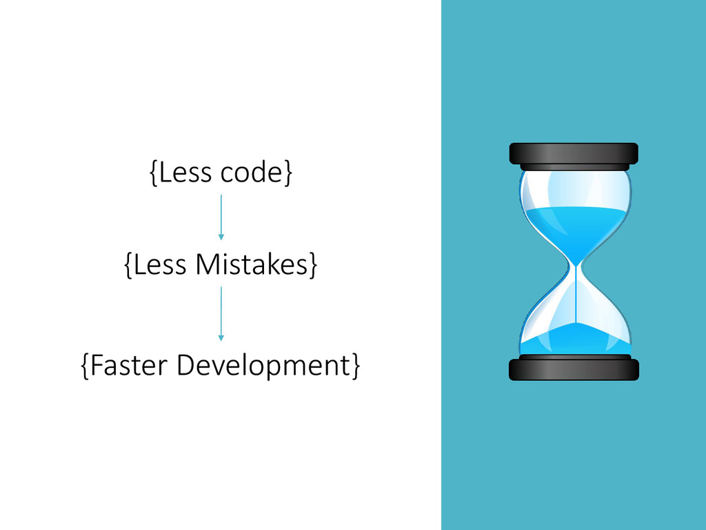 {Less code} {Less Mistakes} {Faster Development}