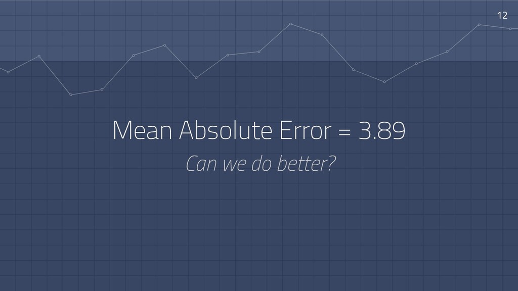 Mean Absolute Error = 3.89 Can we do better? 12
