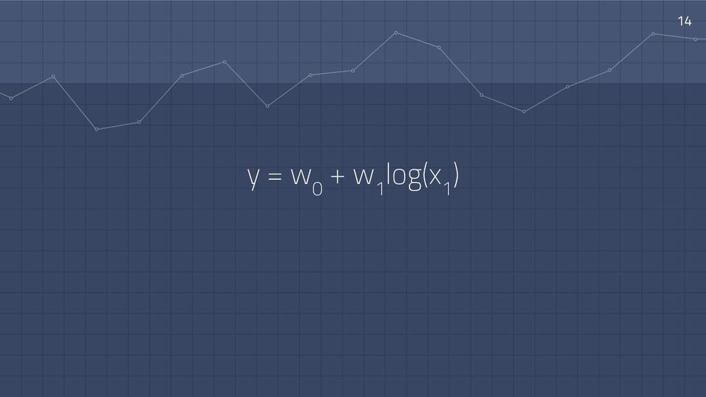 14 y = w 0 + w 1 log(x 1 )