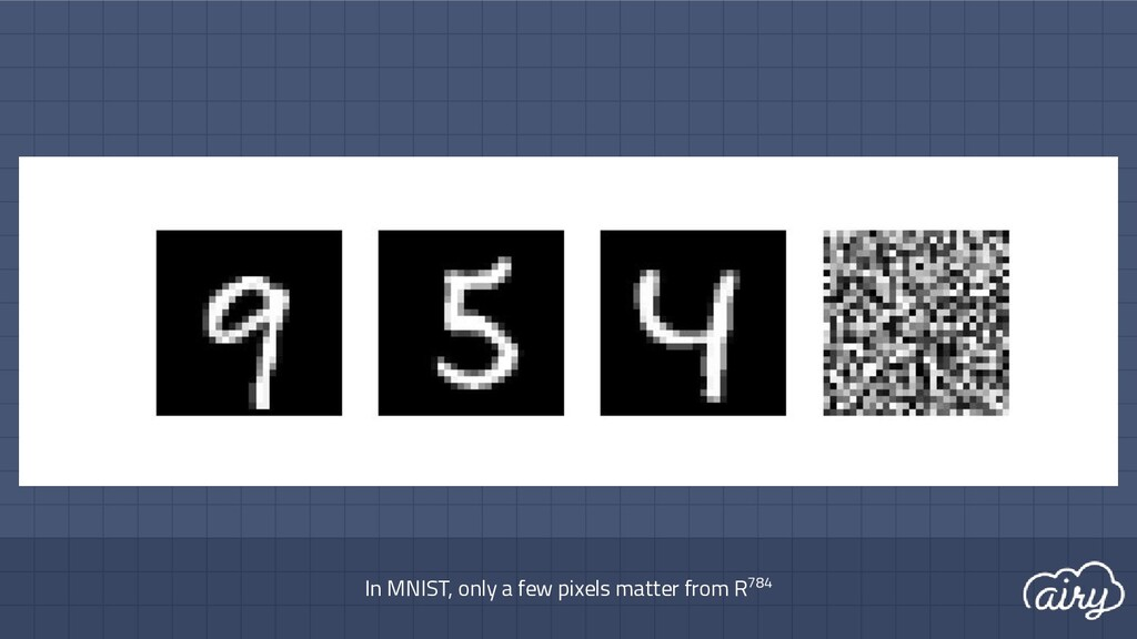 In MNIST, only a few pixels matter from R784