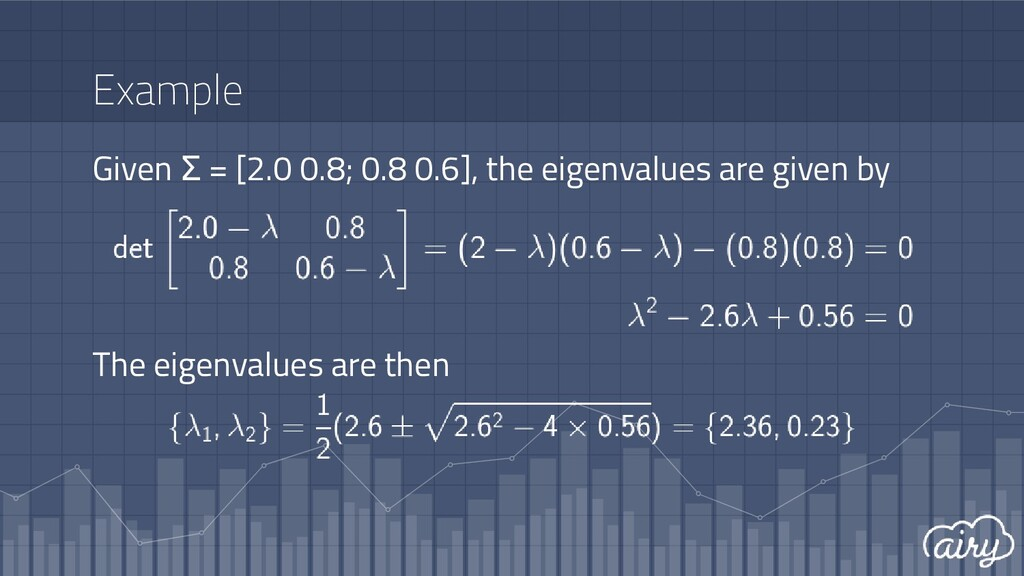 Example Given Σ = [2.0 0.8; 0.8 0.6], the eigen...