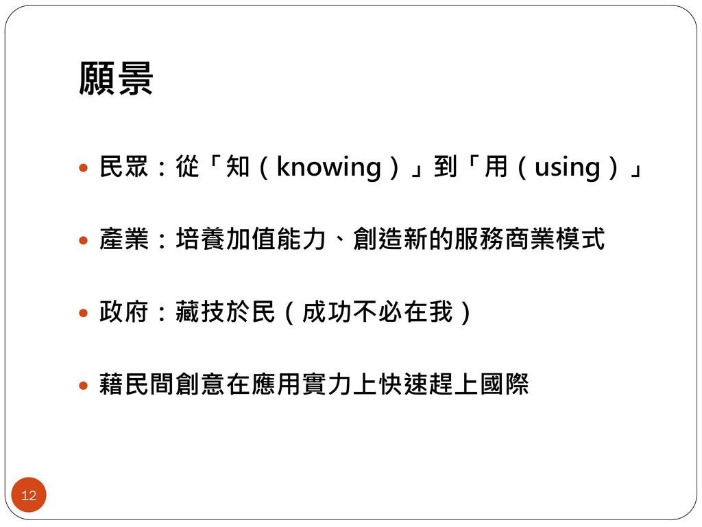願景 12  民眾:從「知(knowing)」到「用(using)」  產業:培養加值能力...