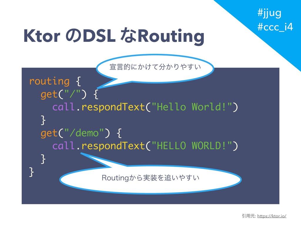 "#jjug #ccc_i4 routing { get(""/"") { call.respond..."