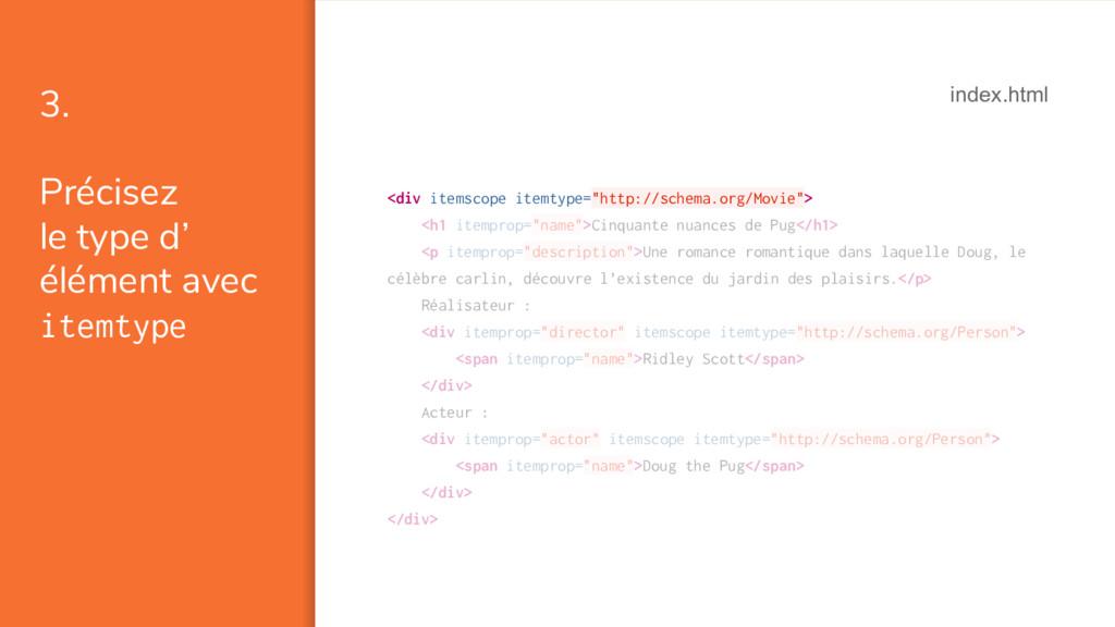 3. Précisez le type d' élément avec itemtype <d...