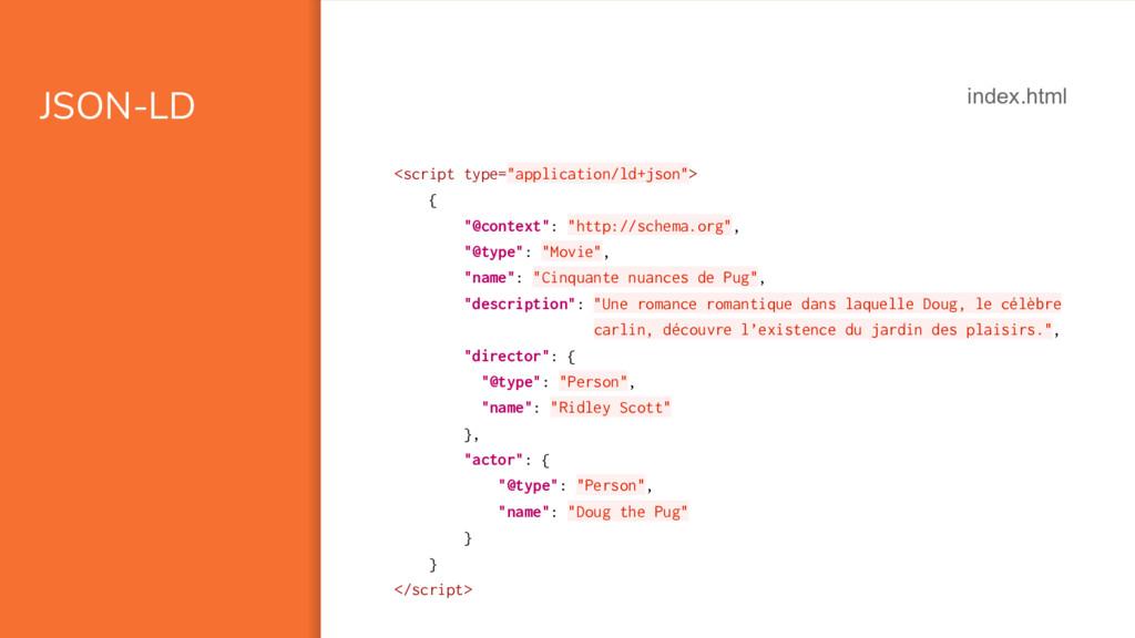 "JSON-LD <script type=""application/ld+json""> { ""..."