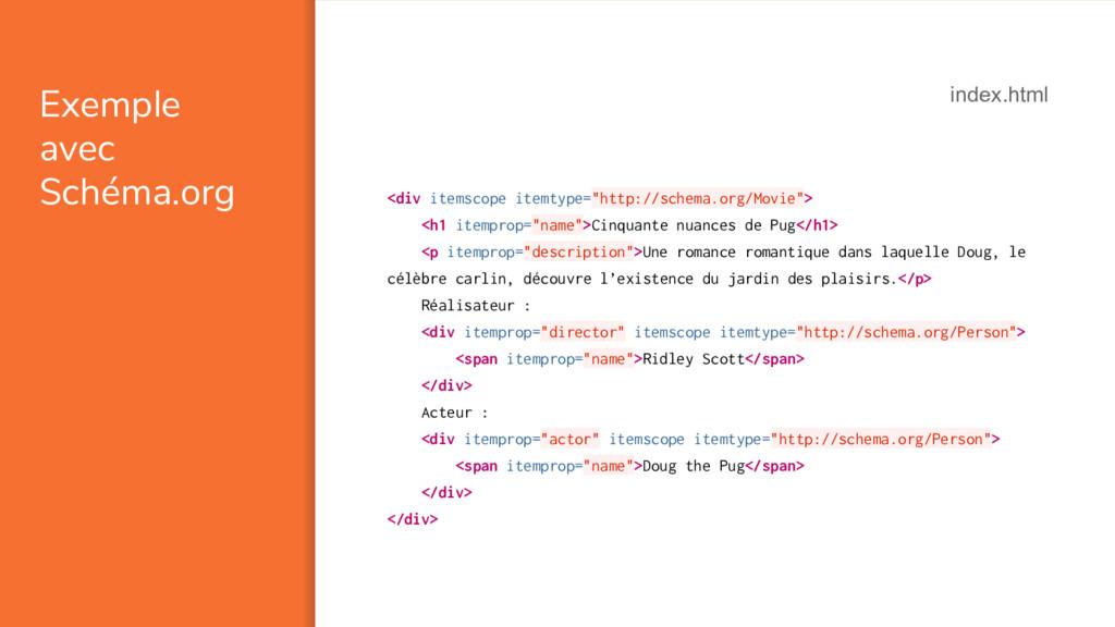 Exemple avec Schéma.org <div itemscope itemtype...