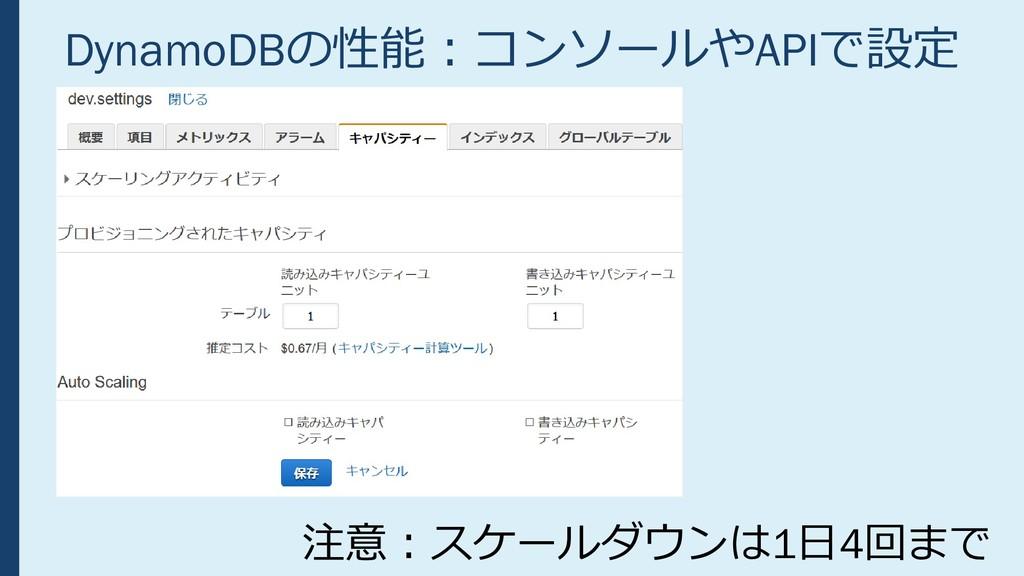 DynamoDBの性能:コンソールやAPIで設定 注意:スケールダウンは1日4回まで