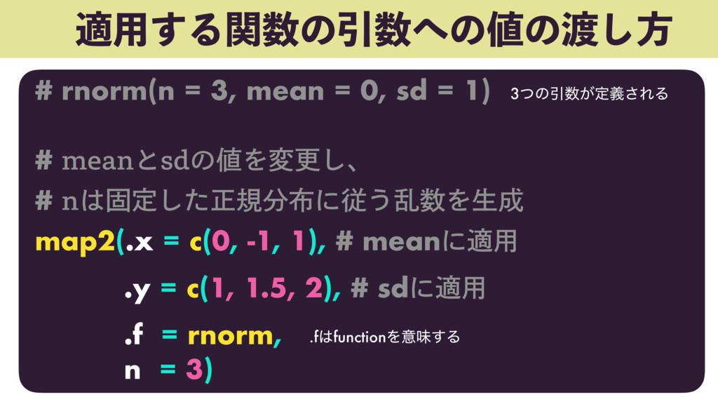 ద༻͢ΔؔͷҾͷͷ͠ํ # rnorm(n = 3, mean = 0, sd = ...