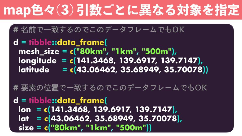 # ໊લͰҰக͢ΔͷͰ͜ͷσʔλϑϨʔϜͰ0, d = tibble::data_frame...