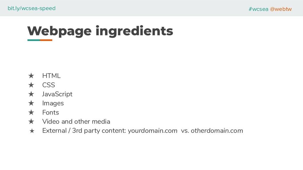 #wcsea @webtw bit.ly/wcsea-speed Webpage ingred...